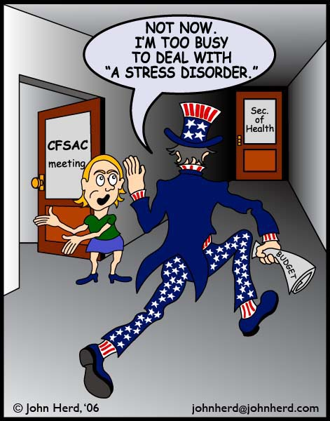 "Cartoon ME/CFS Advocacy: Uncle Sam, ""Not Now, I'm too busy to deal with a stress disorder."""